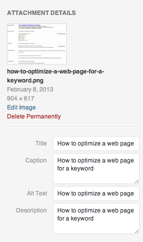 How to optimize an image for a keyword
