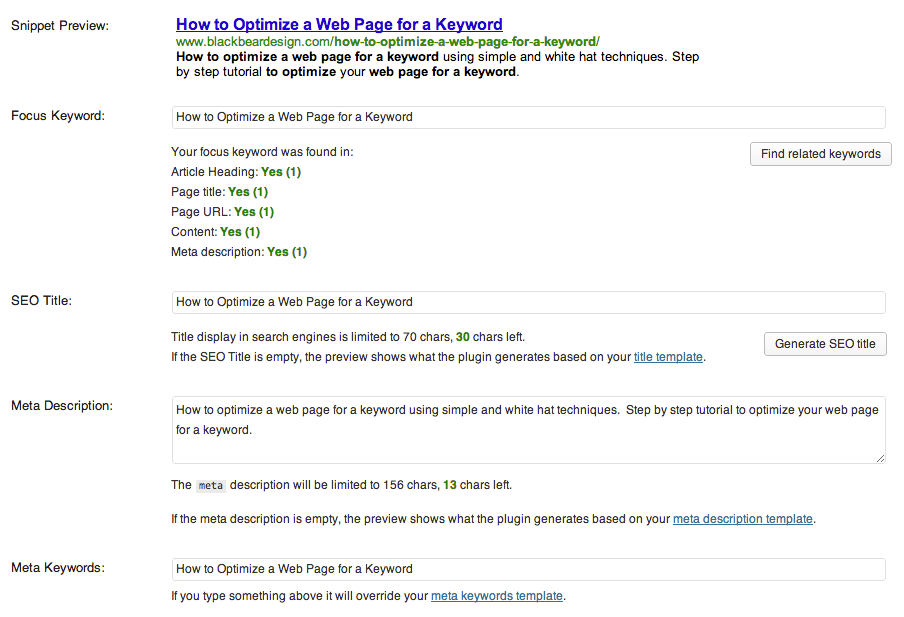 How to optimize a web page for a keyword