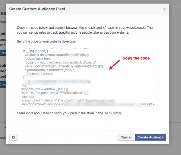 facebook remarketing code