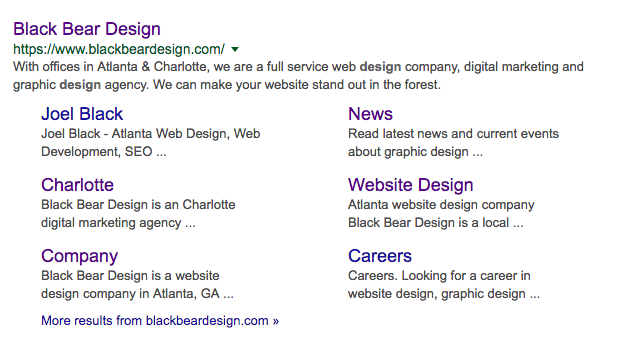 Screen Shot of Google Search Results for Black Bear Design Web SEO